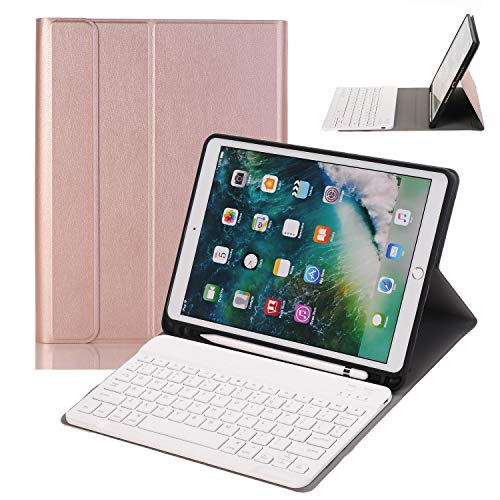 Keyboard Pencil (iGenjia iPad Pro 10.5 Keyboard Case with Pencil Holder-for iPad Pro 10.5 inch(A1701/A1709) Smart Stand PU Leather Case with Detachable Bluetooth Keyboard with Auto Sleep Protective Cover (Rose Gold))