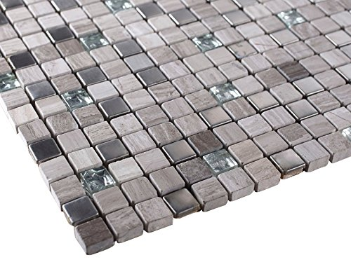Light Grey Luxury Square Pebble Stone with Stainless Steel Mosaic Tiles for Bathroom and Kitchen Walls Kitchen ()