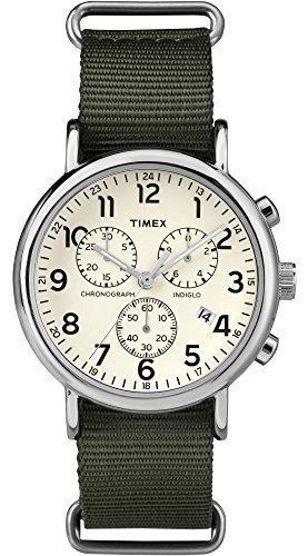 Timex Unisex TW2P71400 Weekender Chrono Green Double-Layered Nylon Slip-Thru Strap Watch from Timex