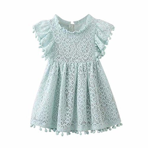 Dress, Flower Girl Lace Dress Hollow Out Dresses With Sleeves (Light Blue, 3-4 Toddlers) (Discount Flower Girl Dresses)