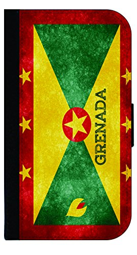 Grenada Grunge Flag - Wallet Style Flip Phone Case Compatible with s3/s4/s5/s6/s6edge/s7/s7edge/s8/s8Plus - Select Your Compatible Phone Model