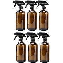 16oz Amber Glass Spray Bottles (6 Pack), Boston Round Bottles W/ Heavy Duty Mist and Stream Sprayers