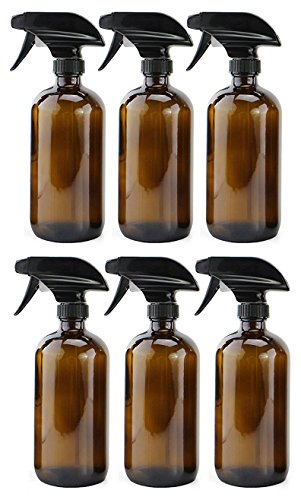 16oz Amber Glass Spray Bottles (6 Pack), Boston Round Bottles W/Heavy Duty Mist and Stream Sprayers