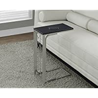 Monarch Specialties Cappuccino Top/Champagne Metal Accent Table