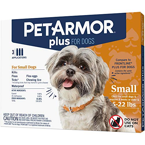PetArmor Plus for Dogs, Flea and Tick Prevention for Small Dogs (5-22 Pounds), Includes 3 Month Supply of Topical Flea Treatments ()