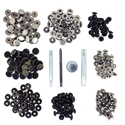 Snap Fasteners Tool Kit by Kurtzy – 80 Silver and Bronze Snap Fastener tools – Metal Fixing and Repair Tools for Leather and More – Quick Release Rapid Rivets Ideal for Sewing Clothing Snaps Button