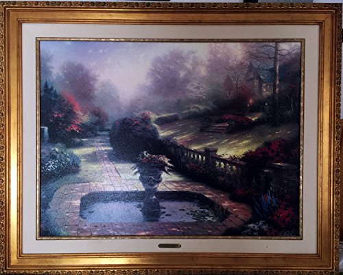 AMountletstore Gardens Beyond Autumn Gate Thomas Kinkade rural landscape senery oil painting printed on canvas wallpaper 24x30inches) ()