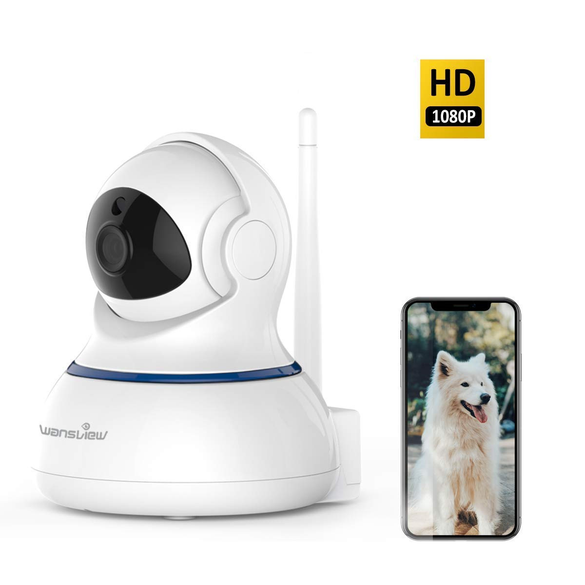 Wansview Wireless 1080P Security Camera, WiFi Home Surveillance IP Camera for Baby/Elder/Pet/Nanny Monitor, Pan/Tilt, Two-Way Audio & Night Vision SD Card Slot Q3-S by wansview