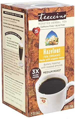 Teeccino Herbal Coffee, Hazelnut, Caffeine-Free, 25-Count Tea Bag