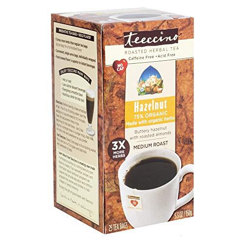 (Teeccino Hazelnut Chicory Roasted Herbal Tea, Caffeine Free, Acid Free, Prebiotic Coffee Substitute, 25 Tea Bags)