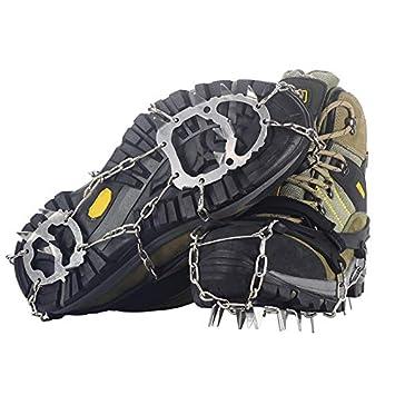 YUEDGE Crampons Universal 18 Stahl Z/ähne Anti-Rutsch Spikes EIS Und Schnee Traktion Edelstahl Steigeisen