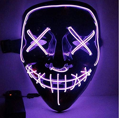 Neon Halloween Led Light Up Purge Mask, One Size