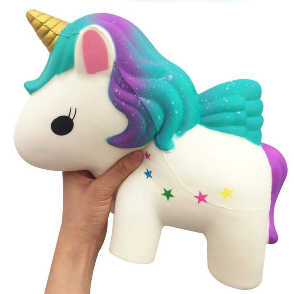 ACCOCO 12Inch Large Slow Rising Squishy Toys, Giant Rainbow Unicorn Jumbo Slow Rising Scented Super Soft Squeeze Squishy Animal Toys Stress Relief Gift Collection (White Unicorn)