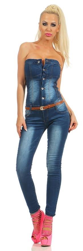 fbc15224ce Fashion4Young 5435 Damen Bandeau Jumpsuit Jeans Overall Hosenanzug  Damenjeans Schulterfrei: Amazon.de: Bekleidung
