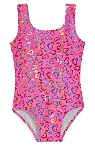City Threads Girls Leotard Bodysuit in Fun Multi Colors Pattern Metallic Mermaid Print Shiny Glittery for Gymnastics Dance Ballet in Tank Short Sleeve, Hearts, 8