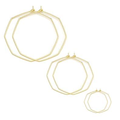 1af612443eca6 Geometric Hoop Earrings for Women Hypoallergenic Lightweight Thin Wire Open  Octagon Hoop Earrings Fashion Minimalist Jewelry for Women 3 Different ...