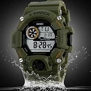 ZA Men's Casual Multi-Function Electronic Outdoor Climbing Waterproof Watches (Delivery color random)