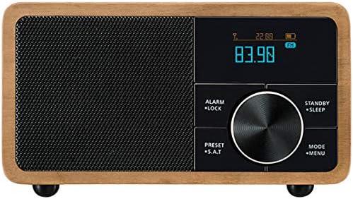 Alarme en bois Haut parleur sans fil Bluetooth Portable Horloge numérique Radio réveil, bois massif Vintage Mini horloges radio numérique FM, horloge