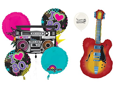 (80's Rock and Roll 7 piece Balloon Bouquet Bundle)