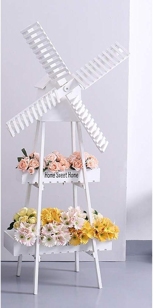 YSNUK Tiesto Bastidor del Molino de Viento Jardín de Flores Decoración Stand casa Balcón Decoración Perchero de pie Estante de exhibición Interior, Jardín (Color : White): Amazon.es: Hogar
