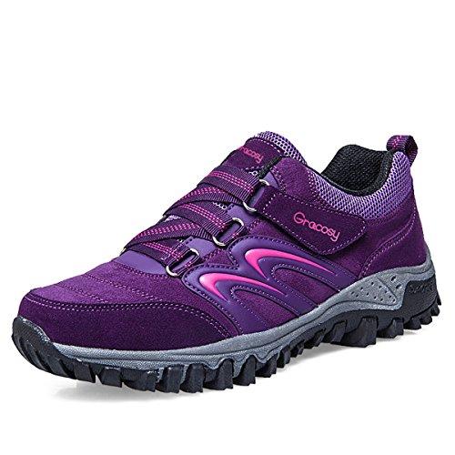 Gracosy Women's Hiking Shoes,Waterproof Skid-Proof Lightweight Sneaker For Running Trekking Outdoor Training Purple 10 B(M) US