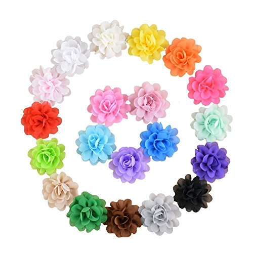 Assorted Colors Chiffon Fabric Handmade Flowers for DIY Headbands Hair Clips (20 pcs 2 inch)
