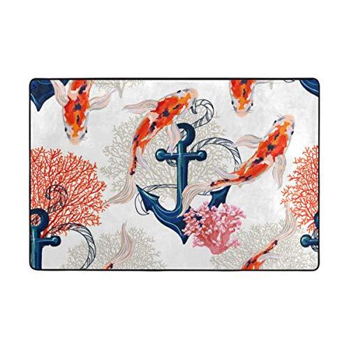(CANCA Ocean Sea Anchor Fish Area Rug Runner Floor Mat Doormat Carpet Cover Pad for Kids Boys Girls Bedroom Living Room Dining Hall 80x58 inch or 6.7x4.8 Feet)