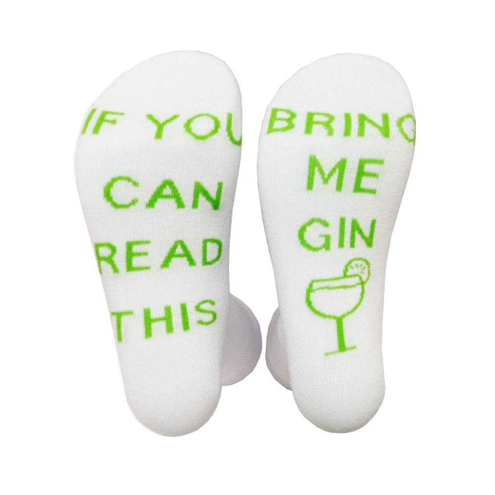 Novelty Wine Socks with IF YOU CAN READ THIS BRING ME GIN funny Saying printted Crazy Crew Socks cotton socks Great Gift for Wine Lovers