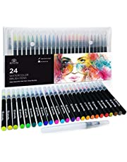 24 Watercolour Paint Brush Pens - Markers for Water Colour Calligraphy Lettering and Drawing - Flexible Real Brush Tips - Gorgeous Pen Colour Set