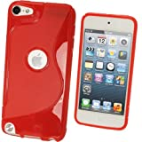 igadgitz Dual Tone Red Crystal Gel Skin (TPU) Case Cover for Apple iPod Touch 5th Generation 5G 32GB 64GB + Screen Protector