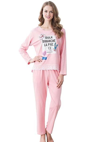 LvRao Mujer de Pijamas Algodon Conjunto Pijama para Mujer Manga Larga 2 pieza Ropa de Dormir
