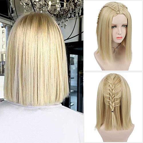 DIFEI 14 inches Natural Blonde or Vanilla Bob Wig Sleek Blunt Shoulder Length Haircut Bob Wigs for Women (Blonde) (Best Bob Haircuts For Thin Hair)