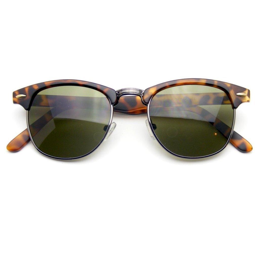 Premium Half Frame Horn Rimmed Sunglasses Metal Rivets (Flash Mirror | Black Silver) Emblem Eyewear Half Frame Sunglasses