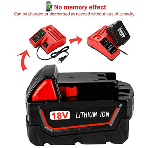 2Pack 6.0Ah 18V Replacemet Lithium ion Battery for Milwaukee Xc 48-11-1850 48-11-1815 48-11-1820 48-11-1852 48-11-1828 48-11-1822 48-11-1811 48-11-1840 REDLITHIUM Cordless Tool Batteries