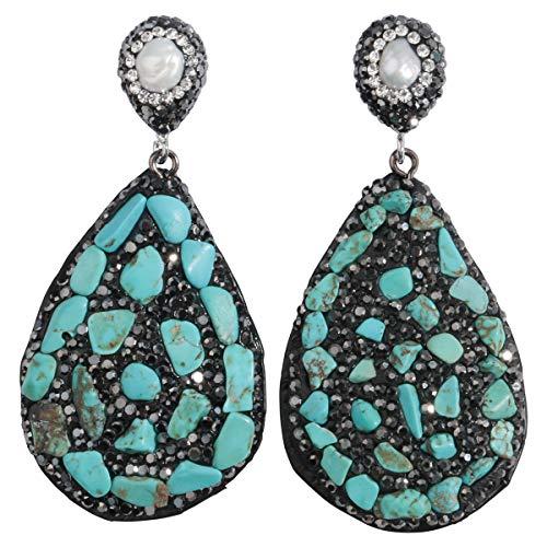 YACQ Pearl Turquoise Tiger Eye Amethyst Tourmaline Marcasite Leather Dangle Earrings Handcrafted Teardrop Jewelry for Women ()