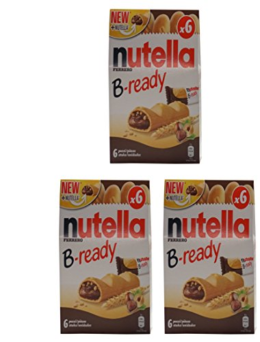 Ferrero: Nutella B-ready NEW + NUTELLA  a crisp wafer of bread in the form of mini - baguette stuffed with a creamy Nutella 6 pieces 4.6 oz (132g) Pack of 3 [ Italian Import ]