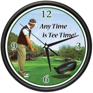 Clock Club Golf - Golfing Wall Clock Golfer Golf Club Ball Glove Gift