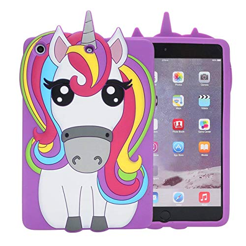 ase for iPad Mini 1/2/3,3D Cartoon Animal Cute Soft Silicone Rubber Character Design Purple Cover, Kawaii Cool Protective Skin Shell for Kids Child Teens Girls (iPad Mini 1 2 3) ()