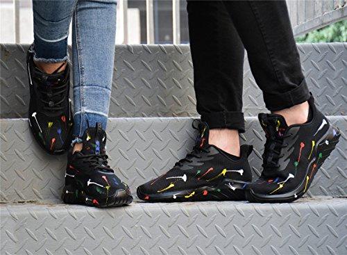 Soulsfeng Loopschoenen Mannen Vrouwen Sneakers Mode Lichtgewicht Ademende Gym Training Schoenen, Reizen Sportschoenen. Zwart Aopen