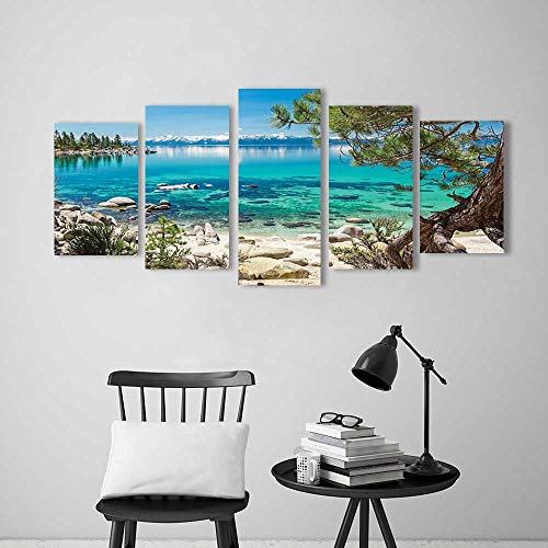 Frameless Lake Tahoe Snowy Mountain Reflection on Clearwater Rocky Shore Romantic View Aqua Ivory for The Kitchen, Dining Room, Living Room, Bar and so on (Clearwater Glass Panels)