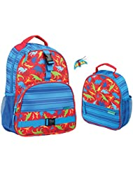 Stephen Joseph Boys Dinosaur Print Backpack and Lunch Box with Zipper Pull