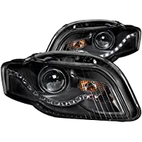 AnzoUSA 121318 Black Clear R8 LED Style Projector Headlight for Audi A4/S4/RS4 - (Sold in Pairs)