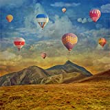 Yeele 6x6ft Turkey Hot Air Balloon Backdrops Field Mountain Watercolour White Cloud Weed Pictures Adult Artistic Portrait Photoshoot Props Photography Background