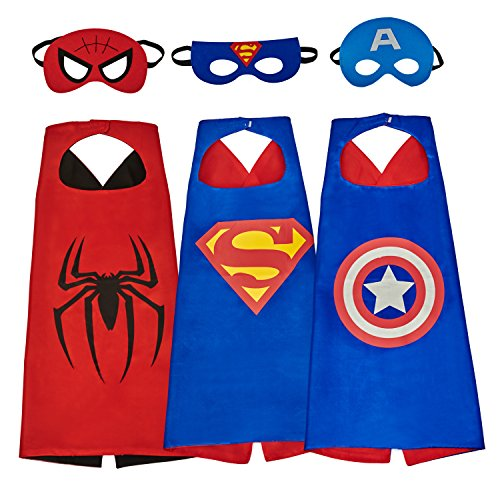 MIJOYEE Superhero Dress Up Costumes and Mask set of 3 different styles (3 different styles) (Kids Captain America Costume With Shield)