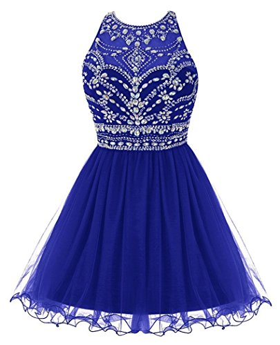 Fashionbride Women's Prom Dresses 2018 Crystals Tulle Homecoming Dresses Short Party Gowns ()
