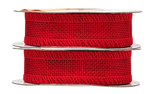 Mandala Crafts Burlap Ribbon, Jute Fabric Strip Spool for Rustic Ornament, Wreath Making, Holiday Decorating, Gift Wrapping (Red, 1 Inch)