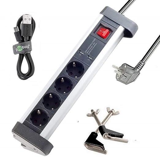 Regleta de 4 enchufes de aluminio mesa con 2 x USB Puerto; incluye ...