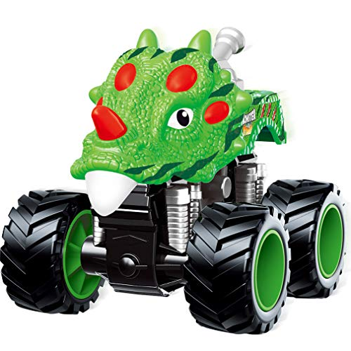 PBOX Dinosaur Monster Truck Toys,Stunt 360° Spin Friction Powered Cars for Kids,Push and Go Vehicles Toddler Toys for Aged 3-12 Year Old Boys & Girl Gift (Girls Monster Trucks Toys)