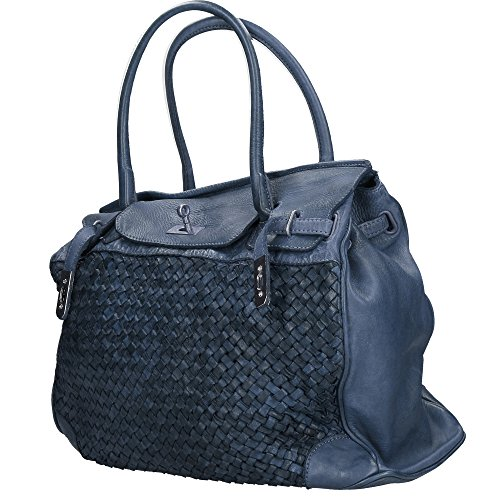 Made In Borse Chicca In Genuine Vintage Cm 39x33x15 Bag Woman Italy Leather Blue Braided qpp6wHvn