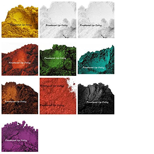 10 Matte Pigment Powder Samples 1g Baggies 2g Beet Root Oxides Teal RED Brown BLACK Yellow VIOLET PURPLE White GREEN 5g Bentonite Clay for Soap & Cosmetic Making